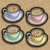 Vector Set Of Colorful Coffee Cups, Original Typeface For Wishes Good Morning Written On Surface Of  poster