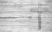 White Old Christian Religion Symbol Cross Shape As Sign Of Belief On A Grungy Wood Textured With Cop poster