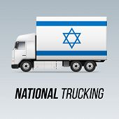 Symbol Of National Delivery Truck With Flag Of Israel. National Trucking Icon And Israeli Flag poster