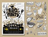 Bbq Party Food Poster. Barbecue Template Menu Invitation Flyer Design Elements Spice, Drinks, Hand D poster