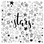 Big Set Of Hand Drawn Doodle Stars Black And White Isolated On Background. Hand Drawn Calligraphy St poster