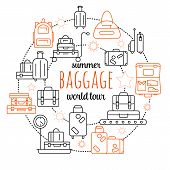 Luggage Line Icon Set. Vector Illustration Of Thin Line Icons For Travel Icons, Baggage, Suitcase An poster