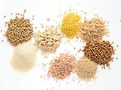 Set Of Heap Various Grains And Cereals - Raw Green Buckwheat, Semolina, Oat Flakes, Millet, Brown Ri poster