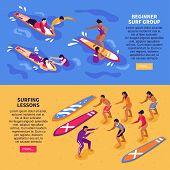 Surf School For Adult Horizontal Banners With Beginner Surf Group And Surfing Lessons  Isometric Com poster