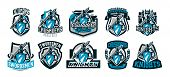 Постер, плакат: A Set Of Colorful Logos Emblems Of A Knight In Iron Armor Knight Of The Middle Ages Shield Warri
