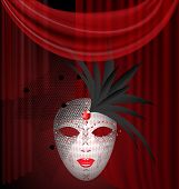 image of mummer  - on an red drape is a large white venetian mask with black feathers and veil - JPG