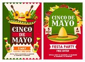 Cinco De Mayo Mexican National Holiday Celebration Fiesta Party Invitation. Vector Posters Of Mexica poster