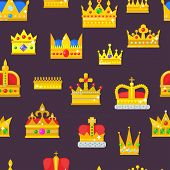 Crown Vector Golden Royal Jewelry Symbol Of King Set Queen Princess Crowning Prince Authority Crown  poster