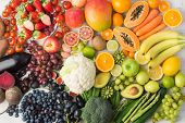 Healthy Eating Background, Assortment Of Different Fruits And Vegetables In Rainbow Colours On The O poster