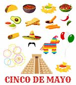 Mexican Fiesta Party Food Icon Set For Cinco De Mayo Holiday. Chili Pepper, Sombrero And Avocado Gua poster