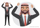 Arab Man Character Is Happy And Smiling. Cartoon Style Man. Emotion Of Joy And Glee On The Man Face. poster
