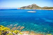Island Scenery, Seascape Of Mallorca Spain. Idyllic Coastline Of Majorca, Mediterranean Sea On Sunny poster