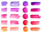 Colorful Vector Watercolor Brush Strokes. Rainbow Colors Watercolor Paint Stains Vector Banner Backg poster
