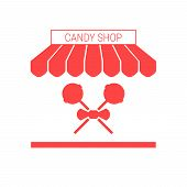 Candy Shop, Sweets Store Single Flat Icon. Striped Awning And Signboard. A Series Of Shop Icons. Vec poster