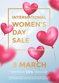 Womens Day Sale Poster Banner Of Red Heart Balloons In Light Shine On Blue Background. Vector Women poster