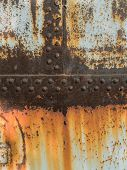 Rust Metal Texture With Riveting, Abstract Grunge Background poster