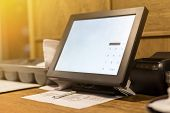 Point Of Sale Pos Touchscreen Terminal. Tablet Computer For Waiter. Cafe Administrator Table With Mo poster