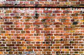 Brick Wall Of Red Orange Color Background. Vintage Old Masonry. poster