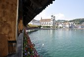 pic of friendship belt  - Lucern Switzerland Chapel bridge with blue lake - JPG