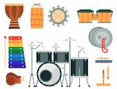 Постер, плакат: Musical Drum Wood Rhythm Music Instrument Series Set Of Percussion Vector Illustration Drummer Musi