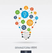 Brainstorm Integrated Thin Line Icons. Idea, Solution In Light Bulb Shape. Digital Network Concept.  poster