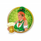 Beautiful, Cute Irish Girl With A Beer Glass In Hand. Round Vector Stickers For Irish Pub. Hibernian poster