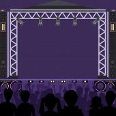 Concert Stage Scene Vector Music Stage And Night Concert Party. Young Pop Group Fun Zone People Silh poster