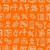Engineering Thin Line Seamless Pattern Background On A Orange For Web And App. Vector Illustration O poster