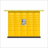 Vector Post Automat Illustration. Postomat Branded Self-service Boxes. Modern Technology Delivery Se poster