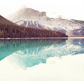 Serenity Emerald Lake in the Yoho National Park, Canada. Instagram filter poster