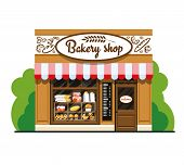Bakery Shop. Bakery Shop In Flat Style. The Facade Of A Bakery Shop. The Facade Of A Bakery Shop In  poster