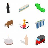 Risky Journey Icons Set. Isometric Set Of 9 Risky Journey Vector Icons For Web Isolated On White Bac poster