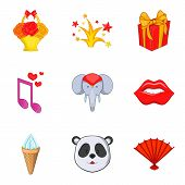 Fun Journey Icons Set. Cartoon Set Of 9 Fun Journey Vector Icons For Web Isolated On White Backgroun poster