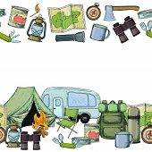 Seamless Horizontal Borders Of Travel Equipment. Accessories For Camping And Camps. Colorful Sketch  poster