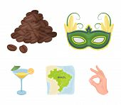 Brazil, Country, Mask, Carnival . Brazil Country Set Collection Icons In Cartoon Style Vector Symbol poster