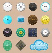 Clock Vector Watch Different Clockwork And Clockface Or Wristwatches Clocked In Time With Hour Or Mi poster