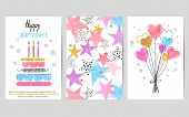 Happy Birthday Cards Set. Celebration Vector Colorful Templates With Birthday Cake, Balloons And Sta poster