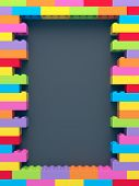 Frame Of Stacked Colorful Toy Bricks On Dark Background poster