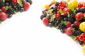 Mix Berries On A White Background. Ripe Blueberries, Blackberries, Currants, Strawberries And Yellow poster