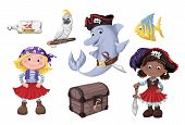 Set Cute Cartoon Girl Pirate Vector Illustration. Kids Pirates. poster