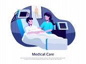 Medical Care Poster With Doctor Attending Patient In Intensive Care Unit With Life Support Equipment poster