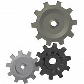 foto of gizmo  - A render of three 3d gears isolated on a white background - JPG