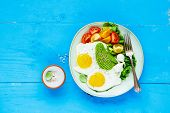 Healthy Vegetarian Breakfast Plate Flat-lay. Fried Eggs, Avocado And Fresh Vegetables On Blue Wooden poster