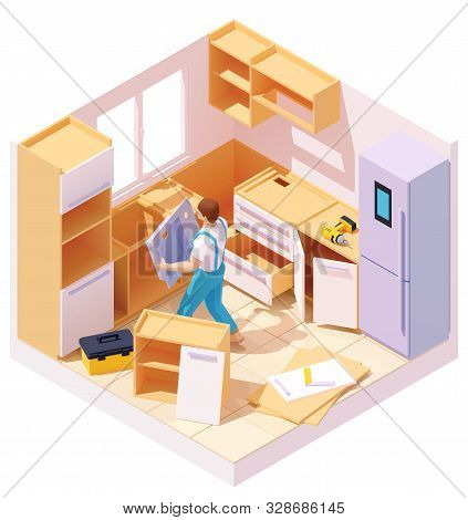 poster of Vector Isometric New Kitchen Furniture Set Assembling And Installation. Handyman Or Carpenter Workin