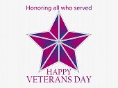 Veterans Day 11Th Of November. Honoring All Who Served. Red Five-pointed Star. Vector Illustration poster