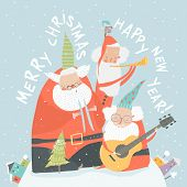 Funny Santa Clauses Playing Musical Instruments. Merry Christmas poster