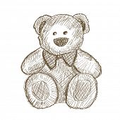 image of teddy-bear  - Hand drawn teddy bear isolated on white - JPG