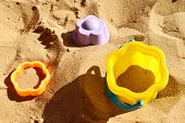 Childrens Figures And Forms Insandbox On Children Playground. Childrens Game In Sand For Small Chi poster