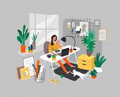 Freelancer Designer Girl Working In Nordic Style Home Office With Cat. Daily Life And Everyday Routi poster