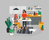 Girlfriends Preparing Dinner In Kitchen Drink Coffee And Talking. Daily Life And Everyday Routine Sc poster